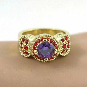 Gold Halo Amethyst & Ruby Ring
